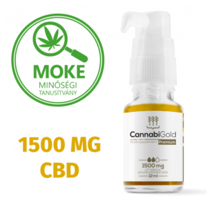 CannabiGold Prémium 1500mg Full spektrum CBD olaj 12ml moke